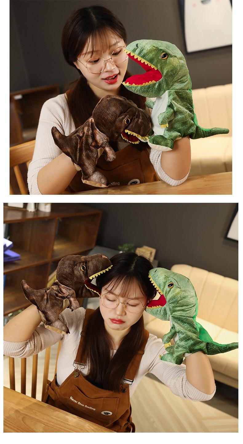 New Cute Glove Dinosaur Plush Hand Puppets Soft Stuffed Cartoon Telling Learning Funny Accompany Toy Baby Birthday Gift