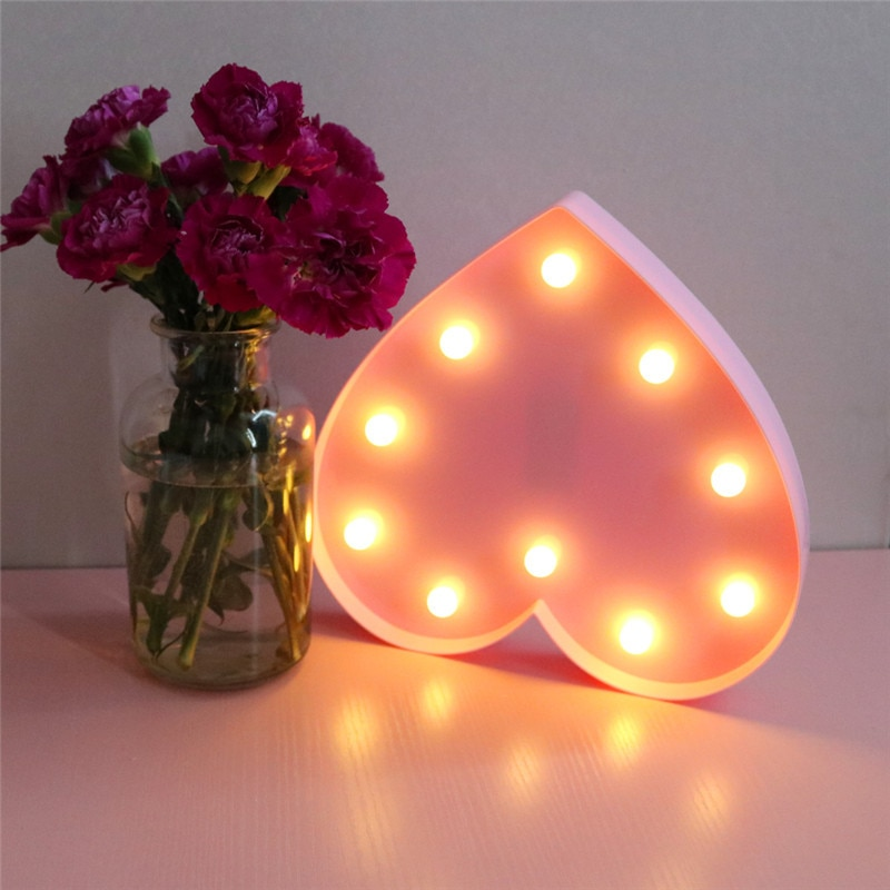 Luminous LED Letter Night Light Creative Heart Alphabet Number Battery Lamp Romantic Wedding Party Valentine's Day Decoration