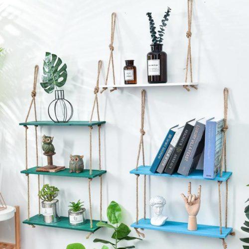 Wooden Hanging Wall Shelves