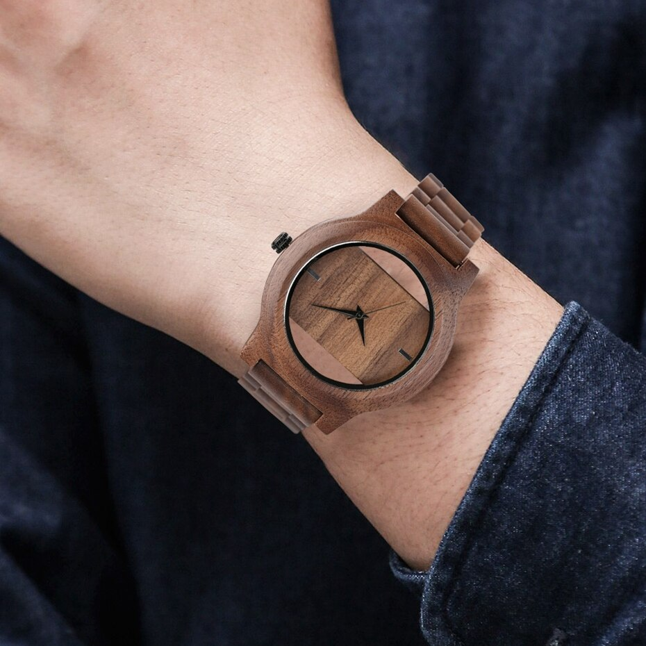 Unique Hollow Dial Men Women Natural Wood Watch with Full Wooden Bamboo Bangle Quartz Wristwatch Novel Handmade Clock Gifts Item