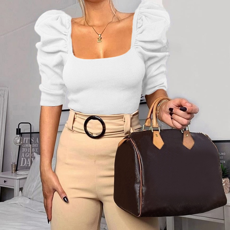 Vintage Puff Sleeve Women Blouse Square Neck Korean Style Tops Elegant Sexy White Black Slim Crop Blouse Women