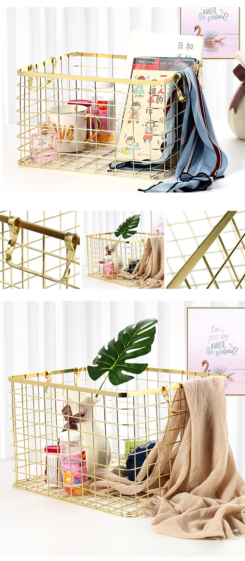 Nordic Style Metal Rose Gold Storage Basket Bath Clothes Cosmetics Storage Basket Office Sundries Organizer Home Decor Golden