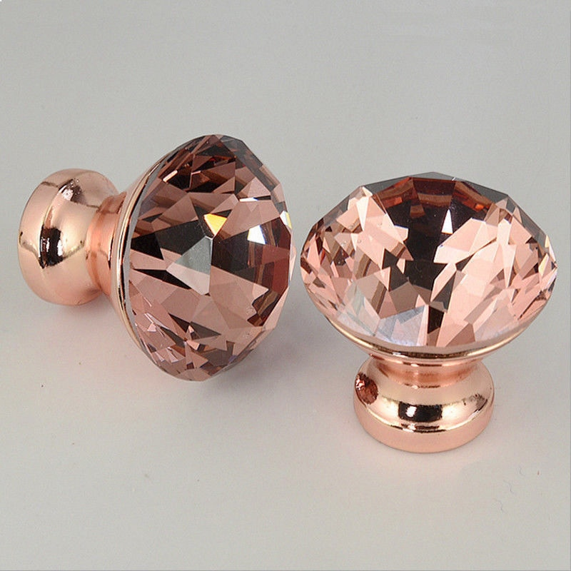 12pcs Rose Gold Diamond Shape Design Crystal Door Furniture Knobs Cupboard Drawer Cabinet Pull Kit Handles Zinc alloy Delicate