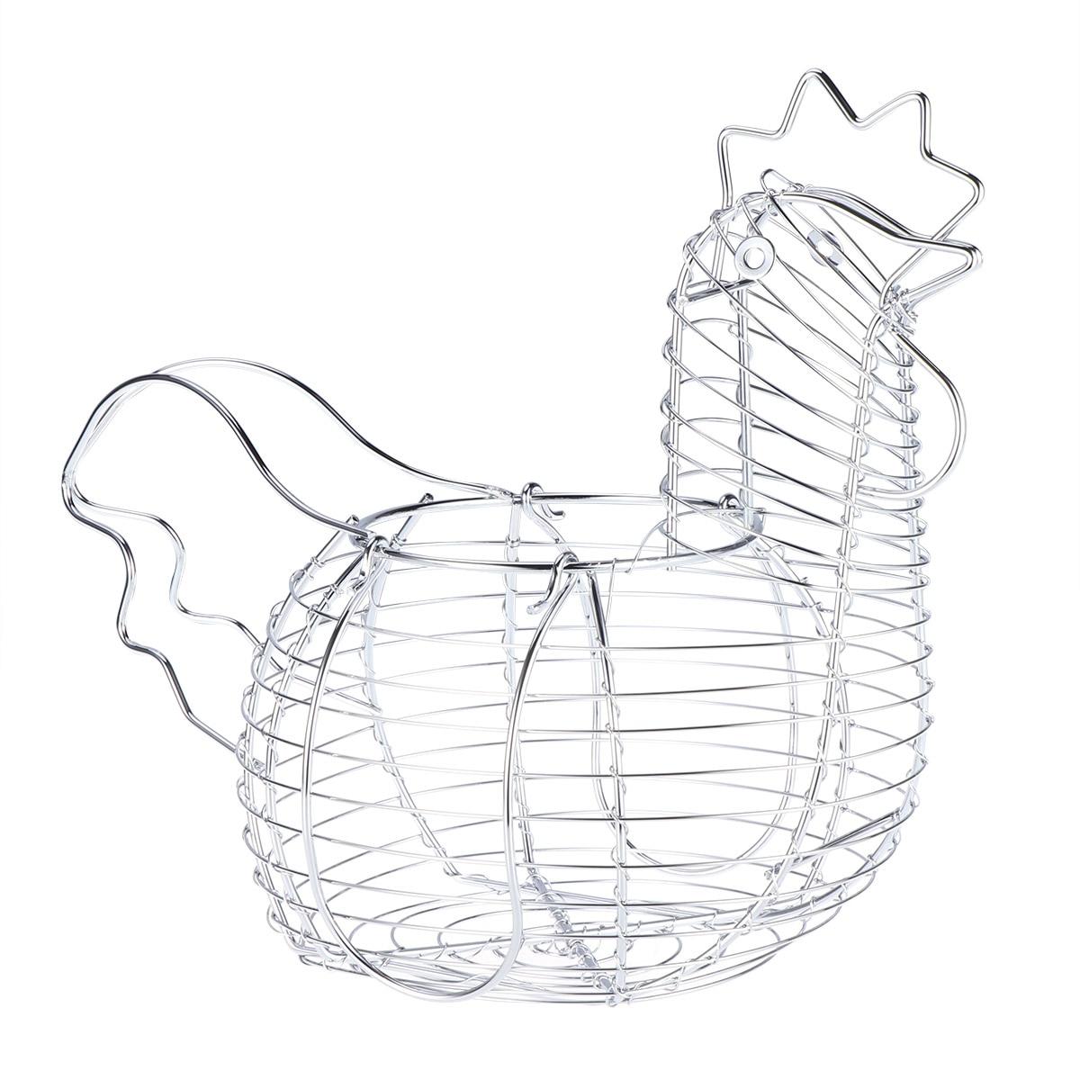 Creative Iron Art Eggs Storage Basket Chicken Shaped Egg Holder Household Vegetables Container Organizer Rack Basket