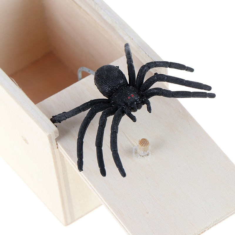 Prank Bauble April Fool's Day Spoof Funny Scare Small Wooden Box Spider Scary Girls Education Baby Toys