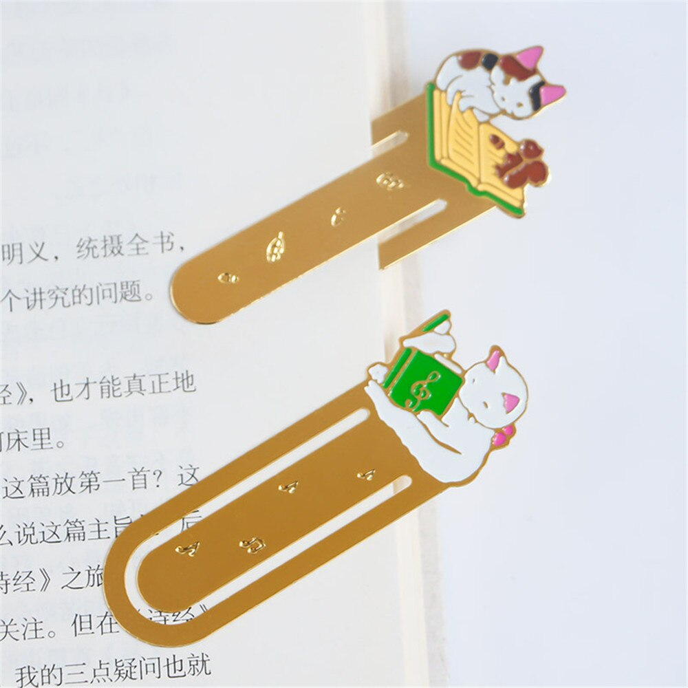 1PC Cute Cartoon Cat Bookmark Kawaii Stationery Paper Clip Metal Bookmark Stationery Book Holder Student Office School Supplies