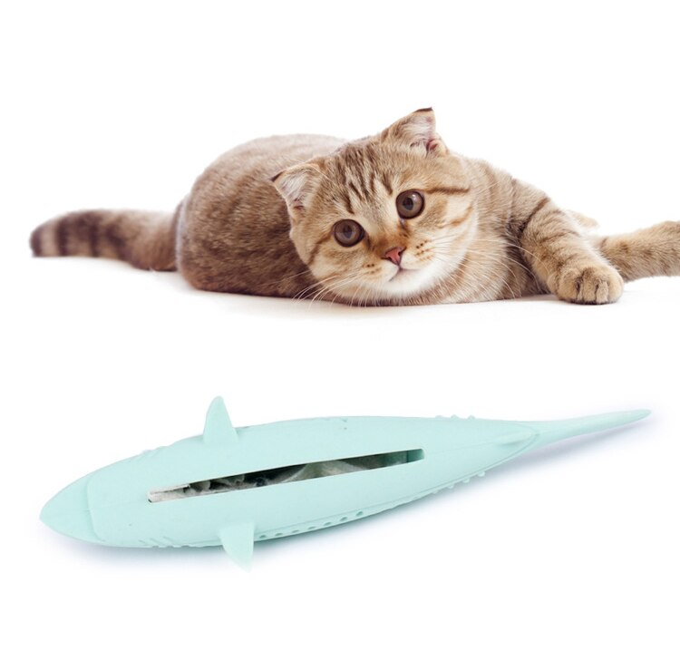 Silicone Mint Fish Cat Toy Pet Catnip Soft Clean Teeth Toothbrush Chew Cats Toys Molar Stick Teeth Cleaning Kitten Pet Products