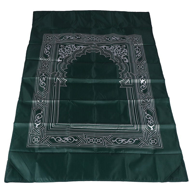 New Style Muslim Prayer Rug Polyester Portable Braided Mats Simply Print with Compass In Pouch Travel Home Mat Blanket 100*60cm