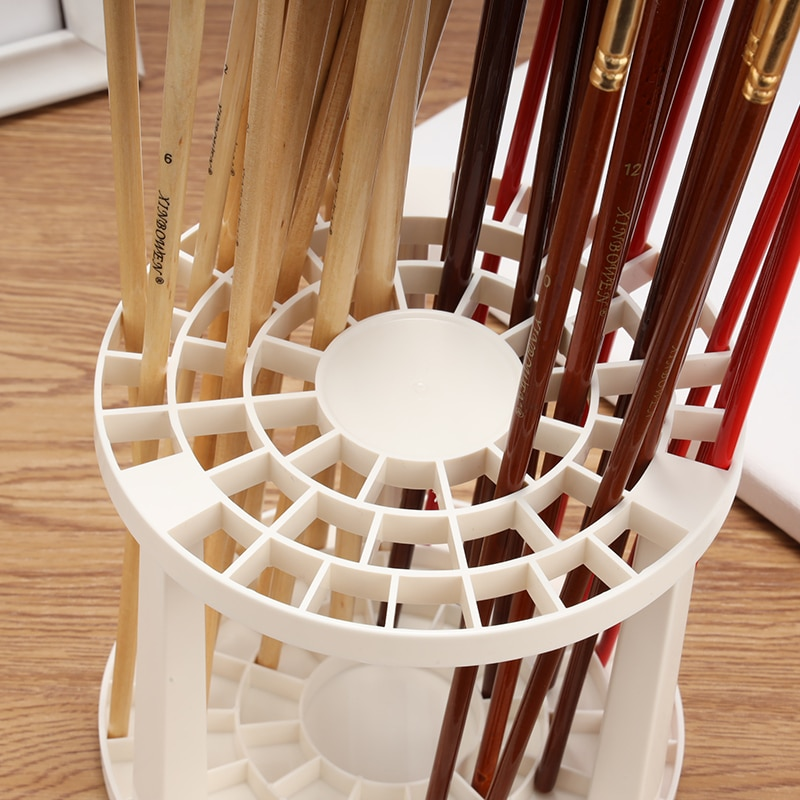 Portable 49 Holes Paint Brush Pencil Stand Watercolor Paint Brush Holder Stand Painting Supplies For Students Desk Organizer New