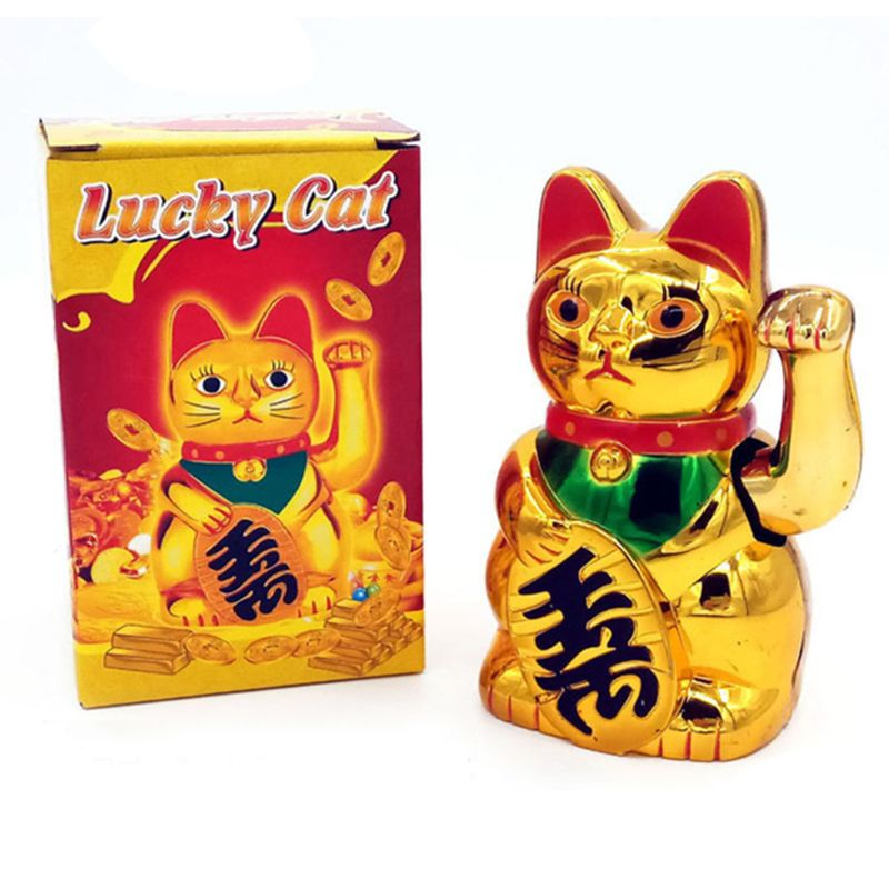Wealth Waving Hand Cat Chinese Lucky Cat Gold Maneki Neko Cute Lucky Cat Electric Craft Art Home Shop Hotel Shop Decoration