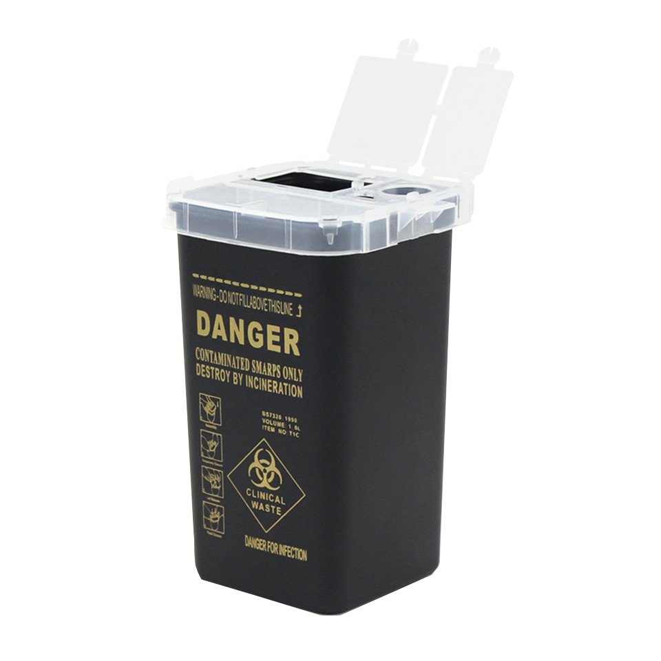 1L Plastic Tattoo Medical Supplies Container Waste Box Buckets Collection Barrels For Disposable Tattoo Needle Tips Accessories