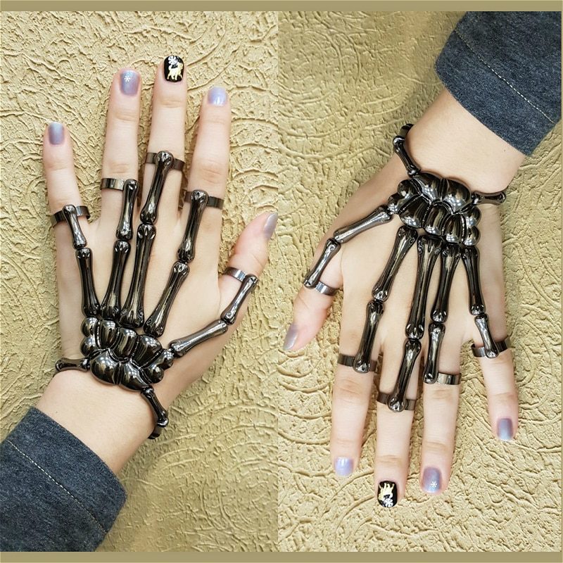 Halloween Bracelet For Women Gothic Punk Hand Skull Skeleton Elasticity Adjustable Bracelet Bangles Femme Party Accessories