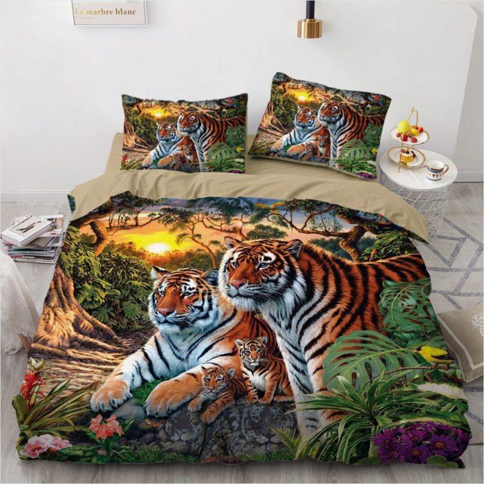 3D Bedsheet Realistic Tiger Design