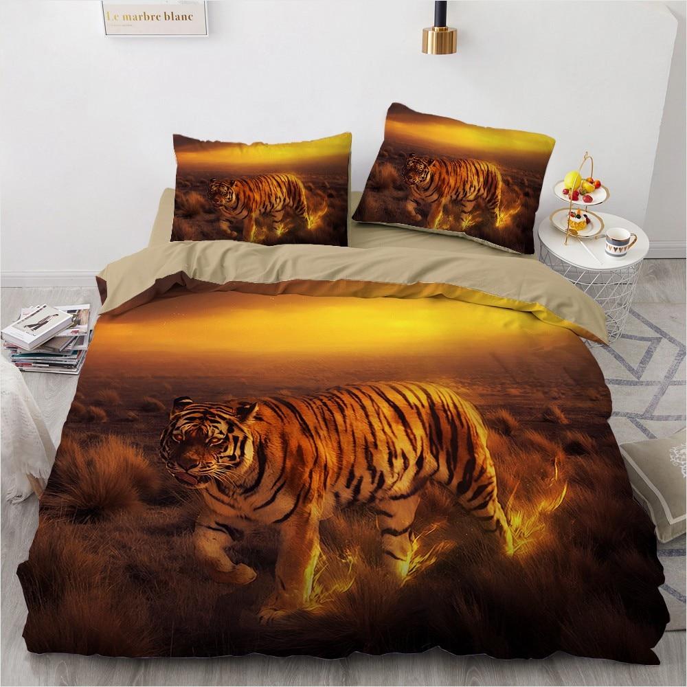 3D Bedding Sets Black Duvet Quilt Cover Set Comforter Bed Linen Pillowcase King Queen 180x210cm Size Animal Tiger Design Printed