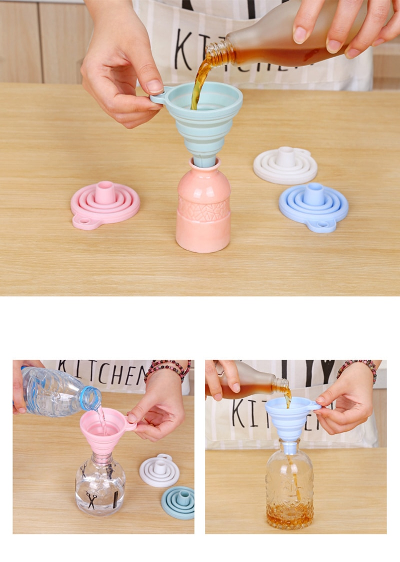 Mini Silicone Funnel Foldable Funnel for Fuel Hopper Collapsible Beer/ Oil Funnels Kitchen Tools