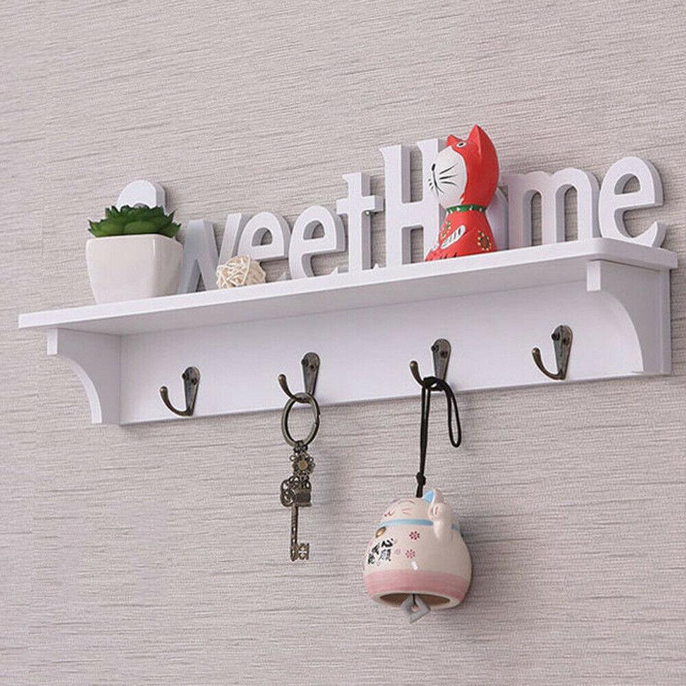New Creative Wooden Wall Hook Door Mounted Shelf Holder / Clothes Hat Coat Hook Key Wall Organizer Rack Mounted 47 * 16.5 * 9cm