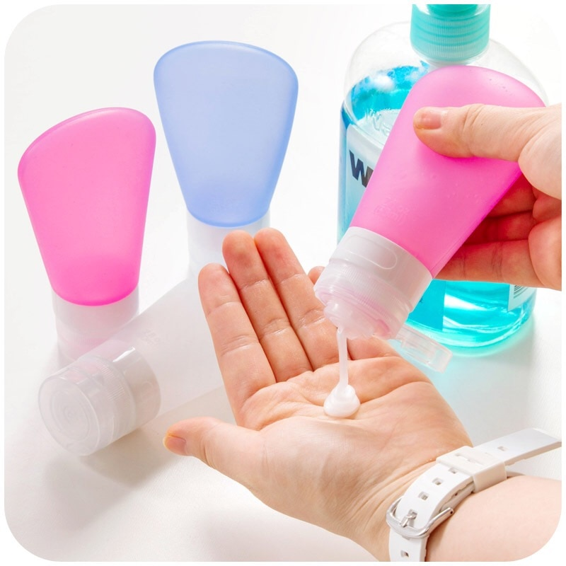 Silicone Refillable Bottles Set Portable Outdoor Shampoo Travel Package Gel Lotion Cosmetic Bottles