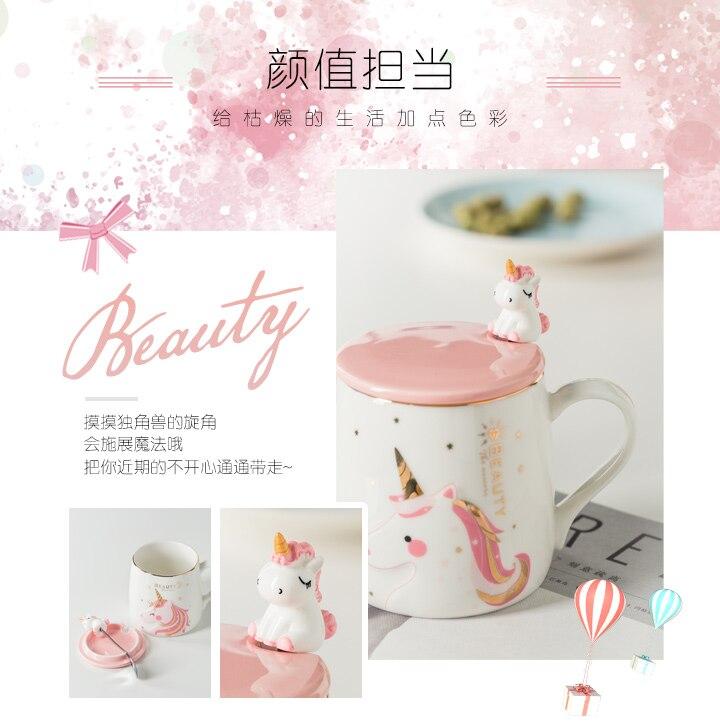 Unicorn Coffee Cup Cute Novelty Ceramic Cartoon Print Porcelain Stirring Mug 3d Lid Luxury Mug Animal Personalized Cup KK60MK