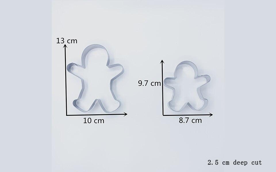 KENIAO Christmas Gingerbread Man Cookie Cutter Set - 2 Piece - Large: 10.7 x 13 cm / Medium: 9.7 x 8.5 cm