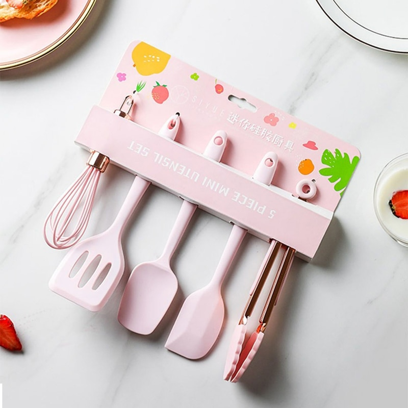 Silicone Cooking Utensils Set Non-stick Spatula Shovel Wooden Handle Cooking Tools Set With Storage Box Kitchen Tools pink set