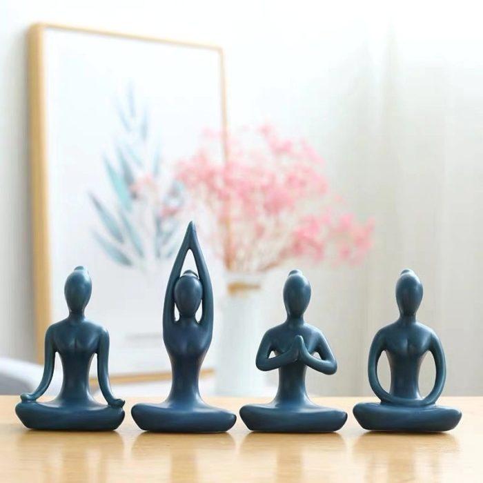 Yoga Statue Mini Ceramic Ornament