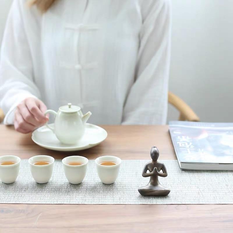 Creative Modern Minimalist Yoga Girl Ornaments Home Teahouse Decoration Ceramic Abstract Art Craft Yoga Poses Figurine Gifts