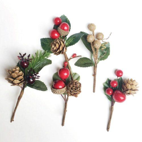 Christmas Picks Faux Holly Decor (5pcs)