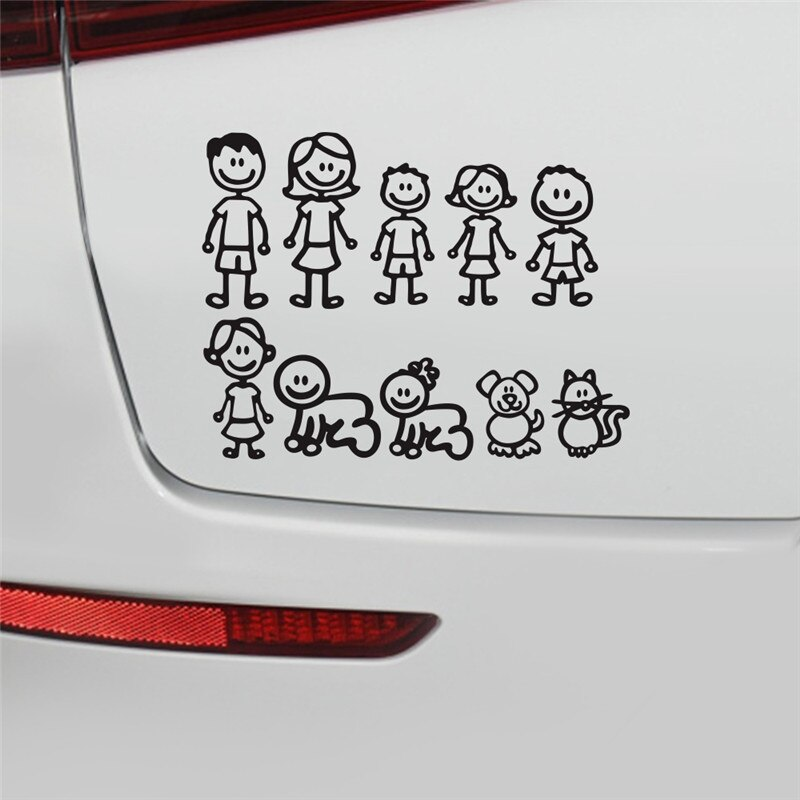 3D Stereo 38.5x28.5CM Family Members Car Stickers Cartoon Anime Car Stickers Window Decoration Car Sticker Decal Accessories
