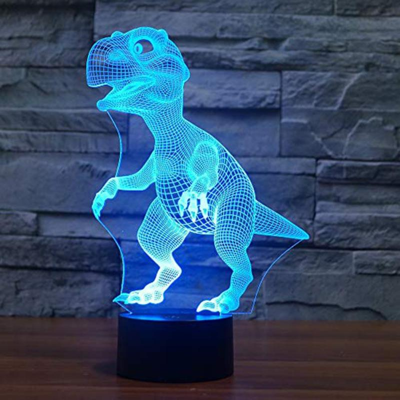 Halloween 3D Dinosaur LED Lamp 7 Colors Touch Control Night Light Kids Gifts Living Room Bedroom Table Decoration