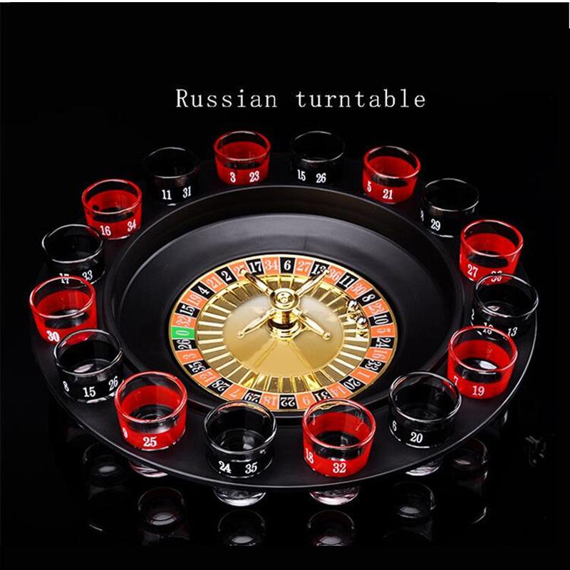 Bar Funny Tools Russia Turntable Shot Glass Drinking Roulette Game Set 16 Shots Party Board Game Play Accessories