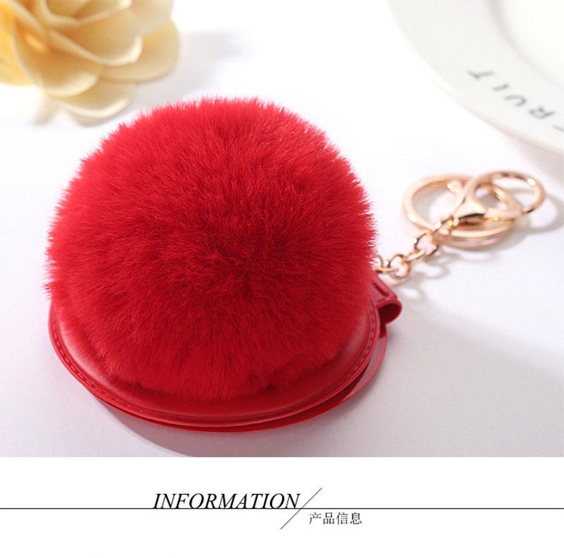 1 יחידות 12 צבע כדור נשיפה חמוד שם מראה מחזיקי מפתחות מראה איפור PU פשוט אישה ילדים אביזרי מתנה קטנה