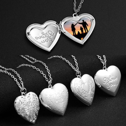 Photo Locket Pendant Silver Necklace