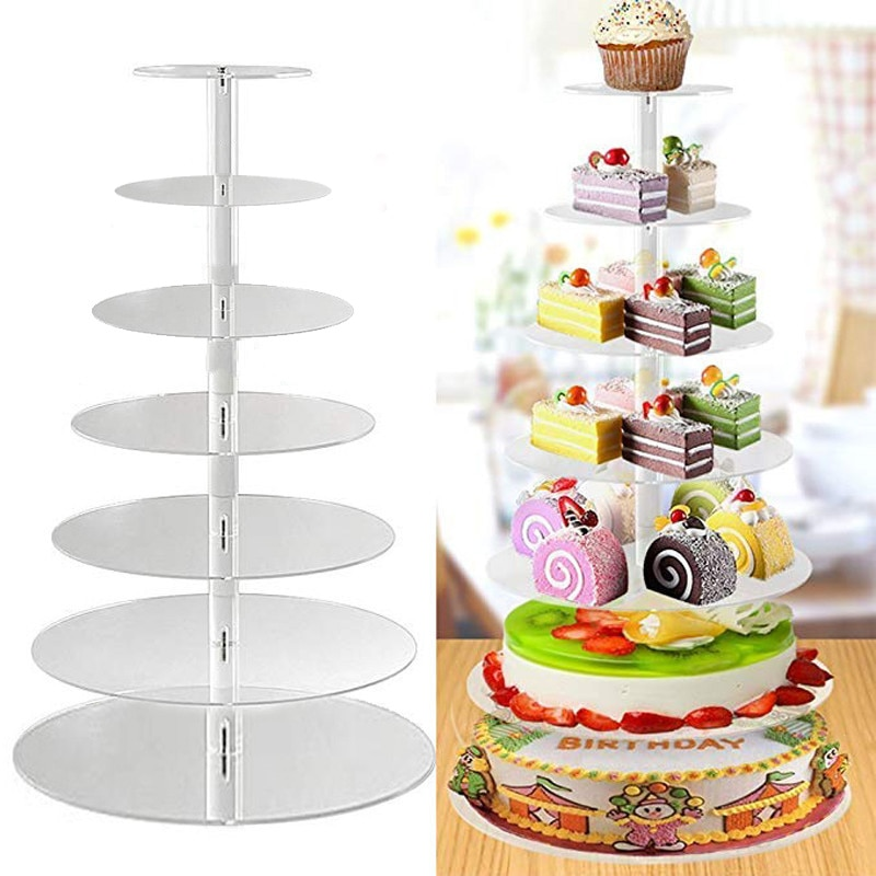 3/4/5 Tier Acrylic Wedding Cake Stand Crystal Cup Cake Display Shelf Cupcake Holder Plate Birthday Party Decoration Stands