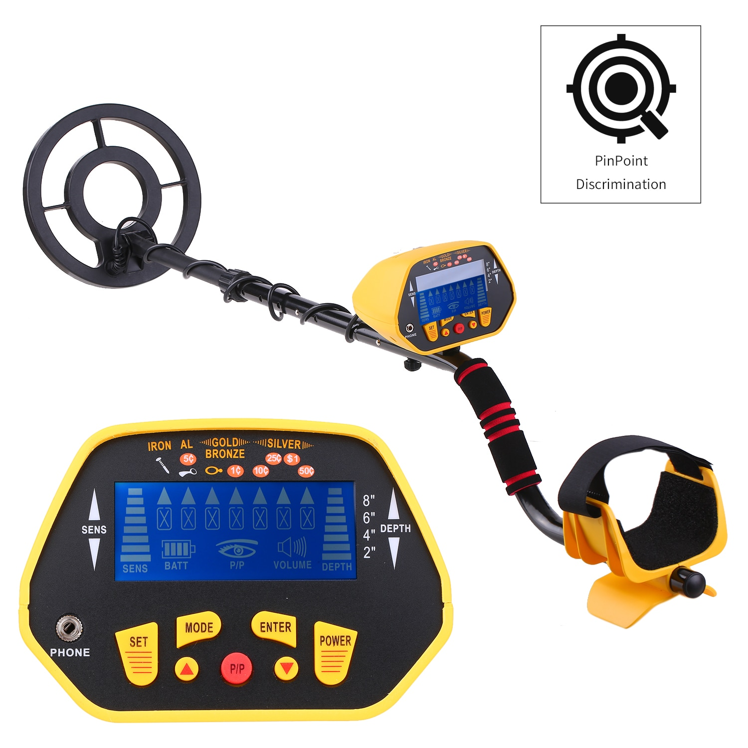 Professional Metal Detector P/P Function Disc Mode Waterproof Metal Finder GC1028 Underground Treasure Hunter