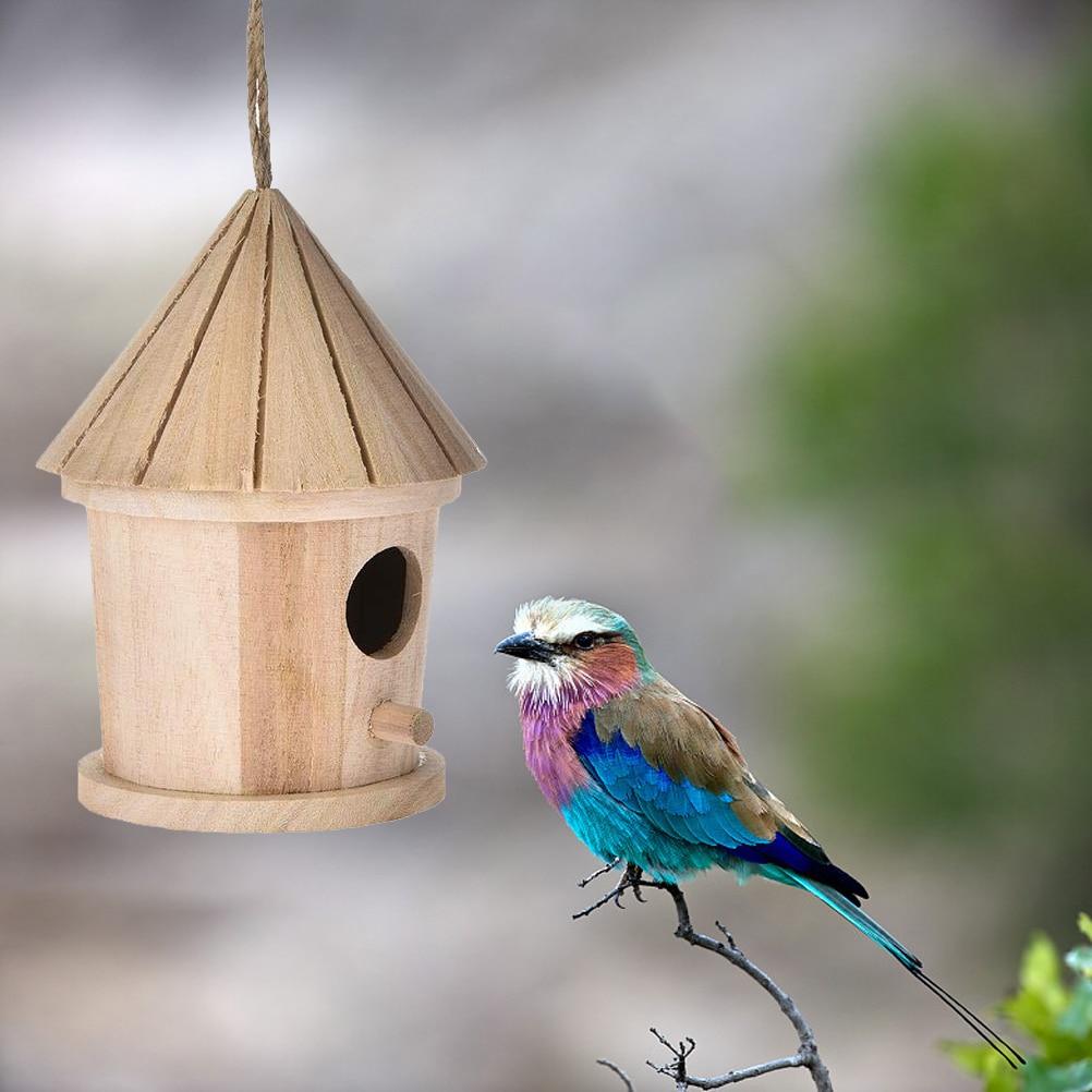 Wooden Bird Nest Hanging Bird House Natural Wooden Bird Cage Resting Place Wall-Mounted Outdoor Birdhouse Wooden Box