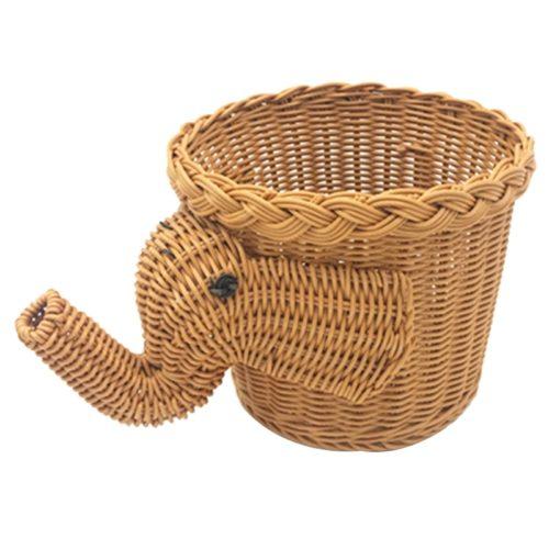 Wicker Fruit Basket Elephant Design