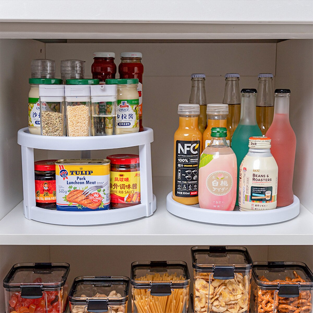 Rotatable Spice Box Rack Kitchenware Double-layer Corner Storage Box for Seasoning Bottles