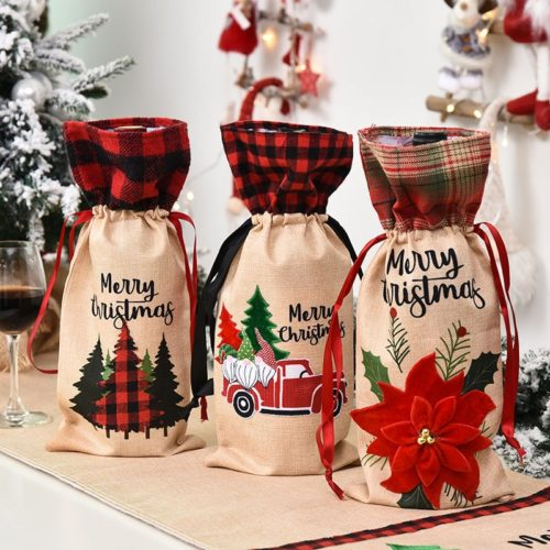 Christmas Wine Bag With Drawstring