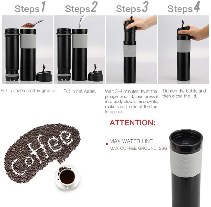 Travel Coffee Press Portable Bottle