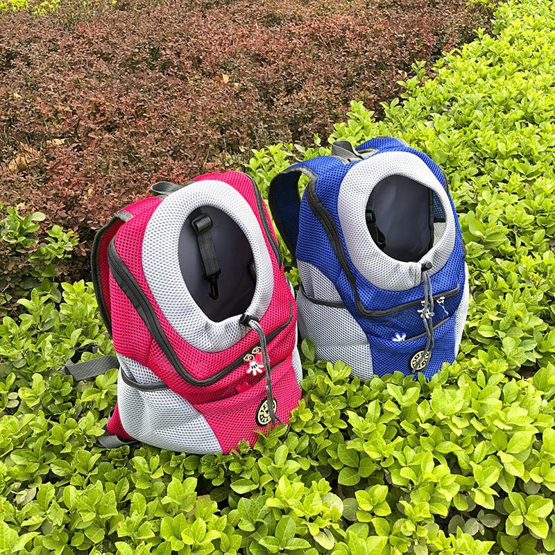 New Out Double Shoulder Portable Travel Backpack Outdoor Pet Dog Carrier Bag Pet Dog Front Bag Mesh Backpack Head