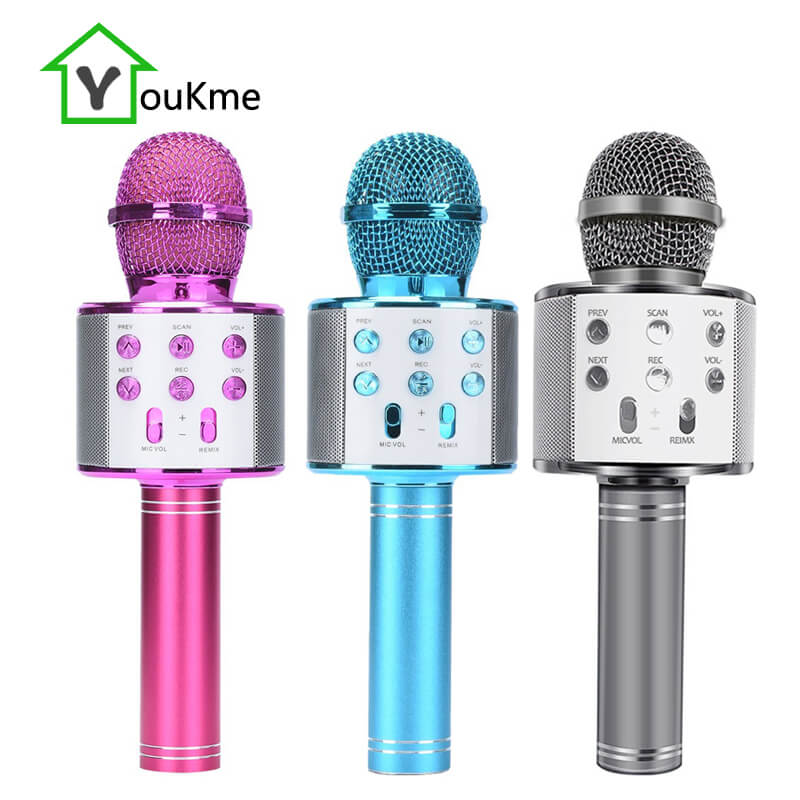 Wireless Bluetooth Karaoke Microphone Handheld Multifunction Speaker Rechargeable Li-Battery Best Gift for Kids Friends[upgrade]