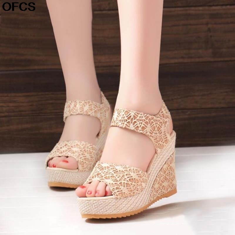 2021 New Fashion Wedge Sandals Women Summer Open Toe Fish Head Sandals Fashion Platform High Heels Women Shoes Size 35-41