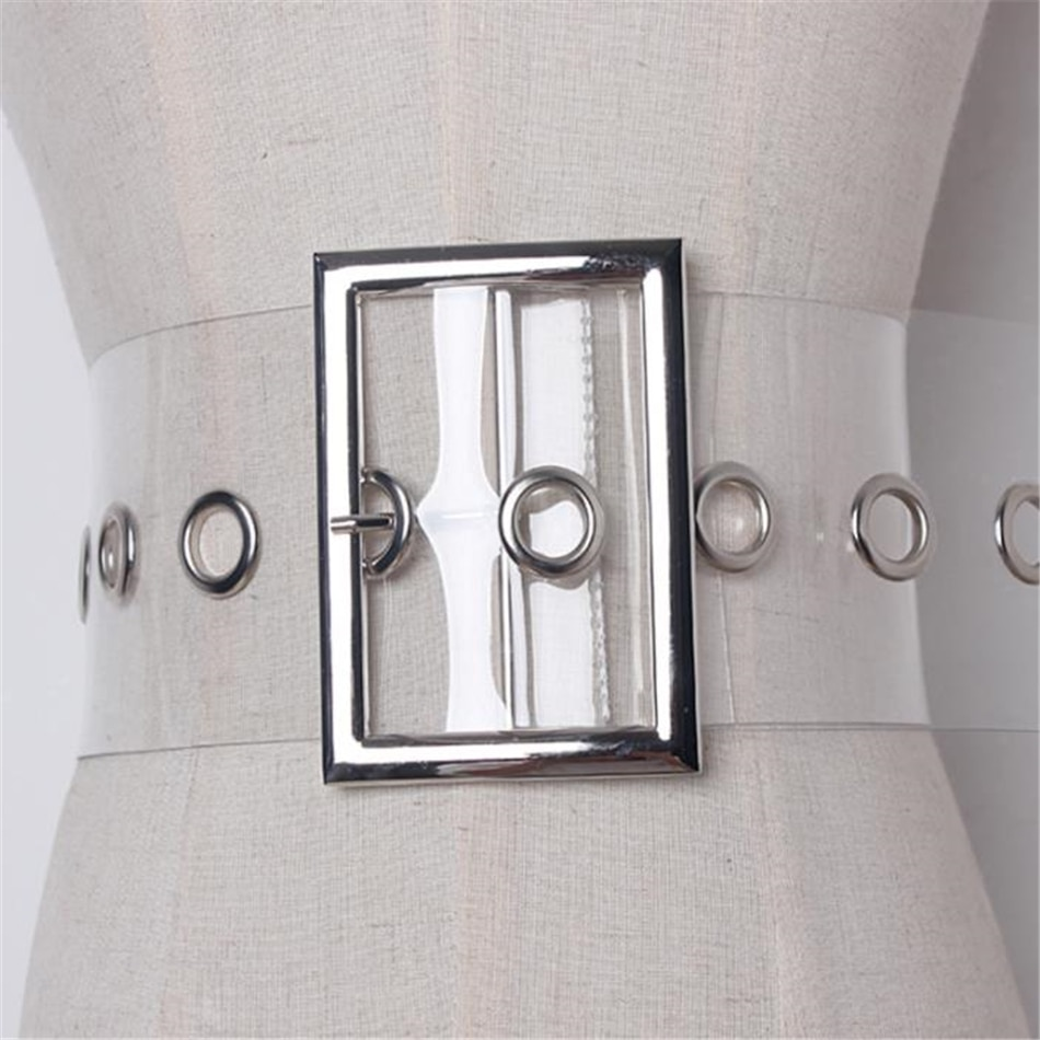 RAINIE SEAN Wide Ladies Belt Pin Buckle Belt for Women Cummerbund PVC Transparent Female 2020 Fashion Brand New Belt Clear