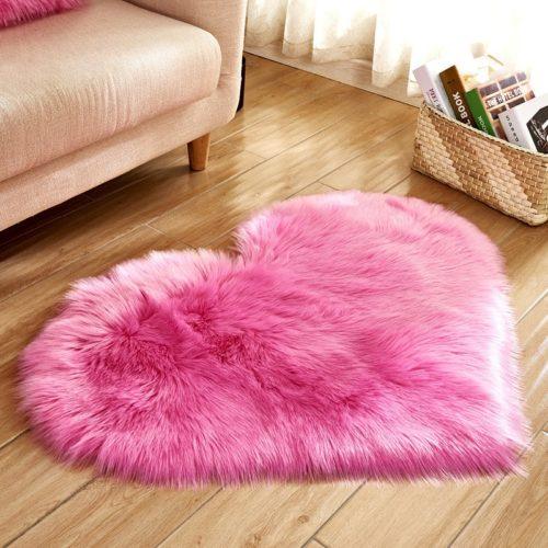 Heart Shaped Rug Faux Fur