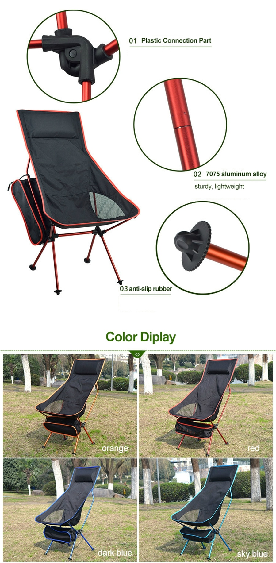 Desert&Fox Camping Chair Multicolor Picnic Beach Collapsible Backrest Chairs with Carry Bag Outdoor Portable Foldable Chair