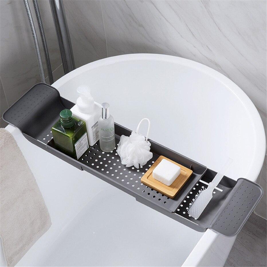 Retractable Bathtub Storage Rack Bath Tray Shelf Tub Multi-Function Bathroom Tools Towel Storage shelf Kitchen Sink Drain Holder
