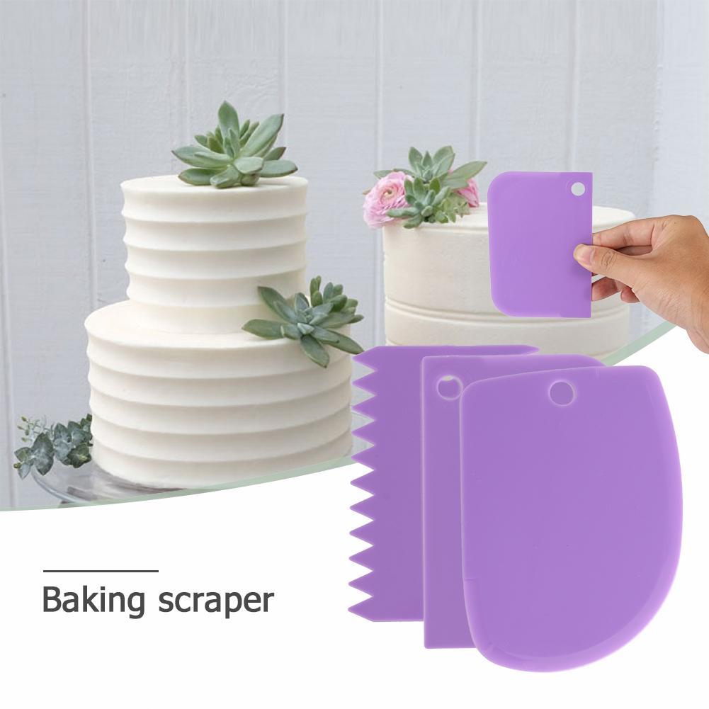 3pcs Irregular Teeth Edge Cream Scraper Smooth Cake Spatula Dough Scraper Baking Pastry Tools Kitchen Butter Knife Dough Cutter