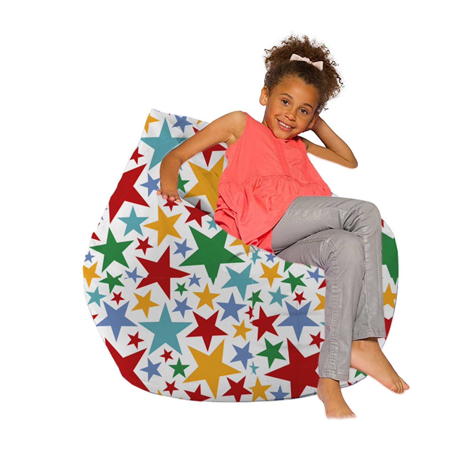 Bean Bag Cover Without Filler Cute Printed Lounger Sack Cozy Lazy Chair Beanbag Slipcover for Adults and Children Sofa Cover