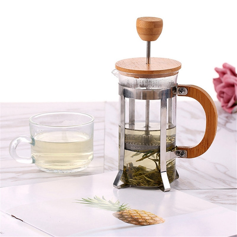 French Press Eco-Friendly Bamboo Cover Coffee Plunger Tea Maker Percolator Filter Press Coffee Kettle Pot Glass Teapot Press