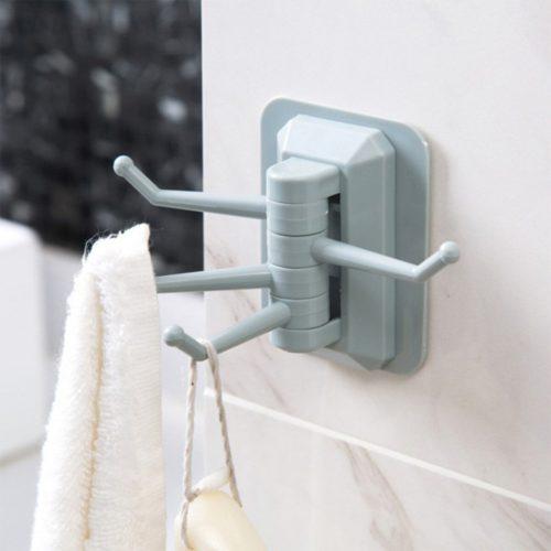 Wall Towel Hanger Rotatable Hooks